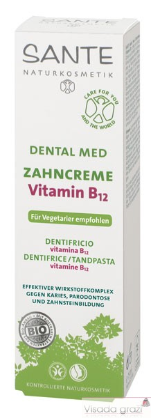 SANTE Dentalmed B12 Natūrali dantų pasta su vitaminu visai šeimai, 75ml