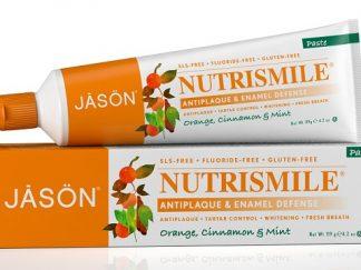 JASON Nutri Smile Natūrali dantų pasta, apelsinų, cinamono ir mėtų skonio, be fluoro, vaikams nuo 2 metukų ir suaugusiems, 125g