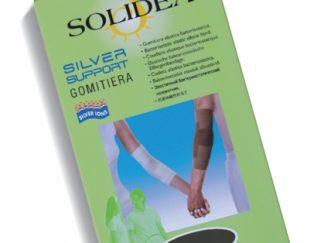 SOLIDEA Silver Support GOMITIERA / elastinis alkūnės raištis, sportuojant, nuo traumų, juoda, kūno spalva